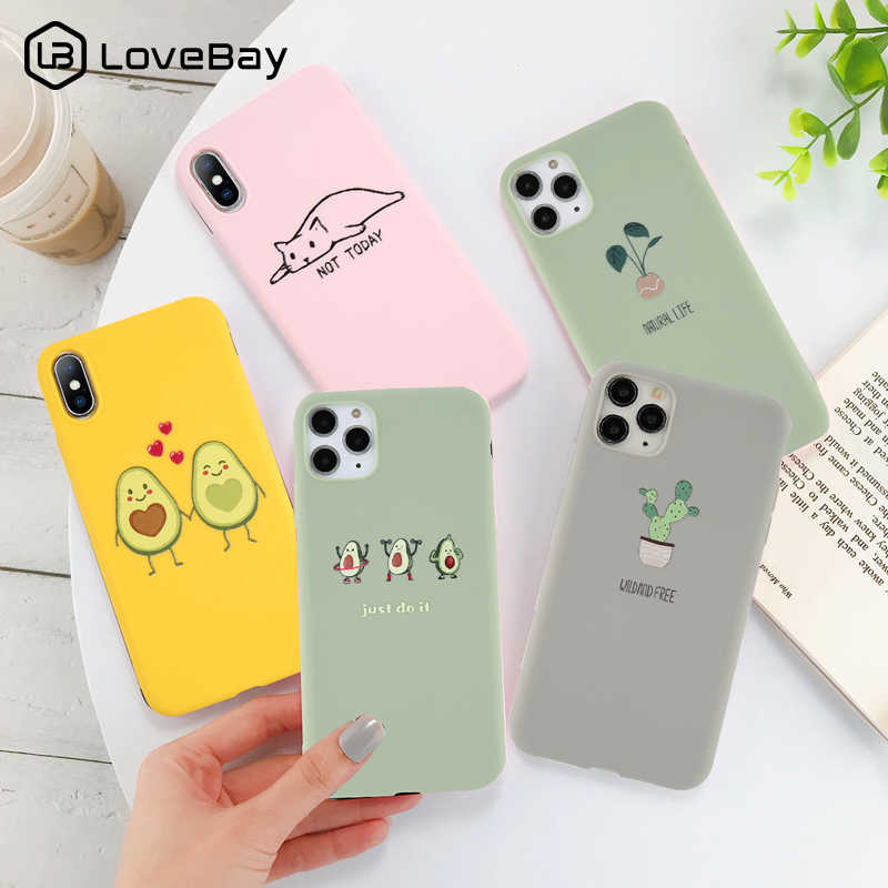 Lovebay Silicone Telefoon Gevallen Voor Iphone 7 Xr 11 Pro Avocado Golven Cactus Voor Iphone 5SE 6 6 S 8 plus X Xs Max Soft Tpu Back Cover