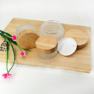 Image 3 - 30g 50g 100g frosted glass cream empty jar ecological friend bamboo lid skin care cream container cosmetic packaging