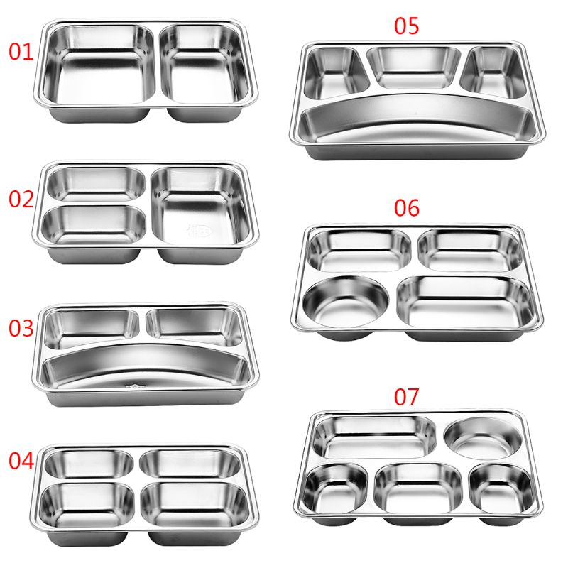 3/5/4 Section Stainless Steel Divided Dinner Tray Lunch Container Food Plate for School Canteen
