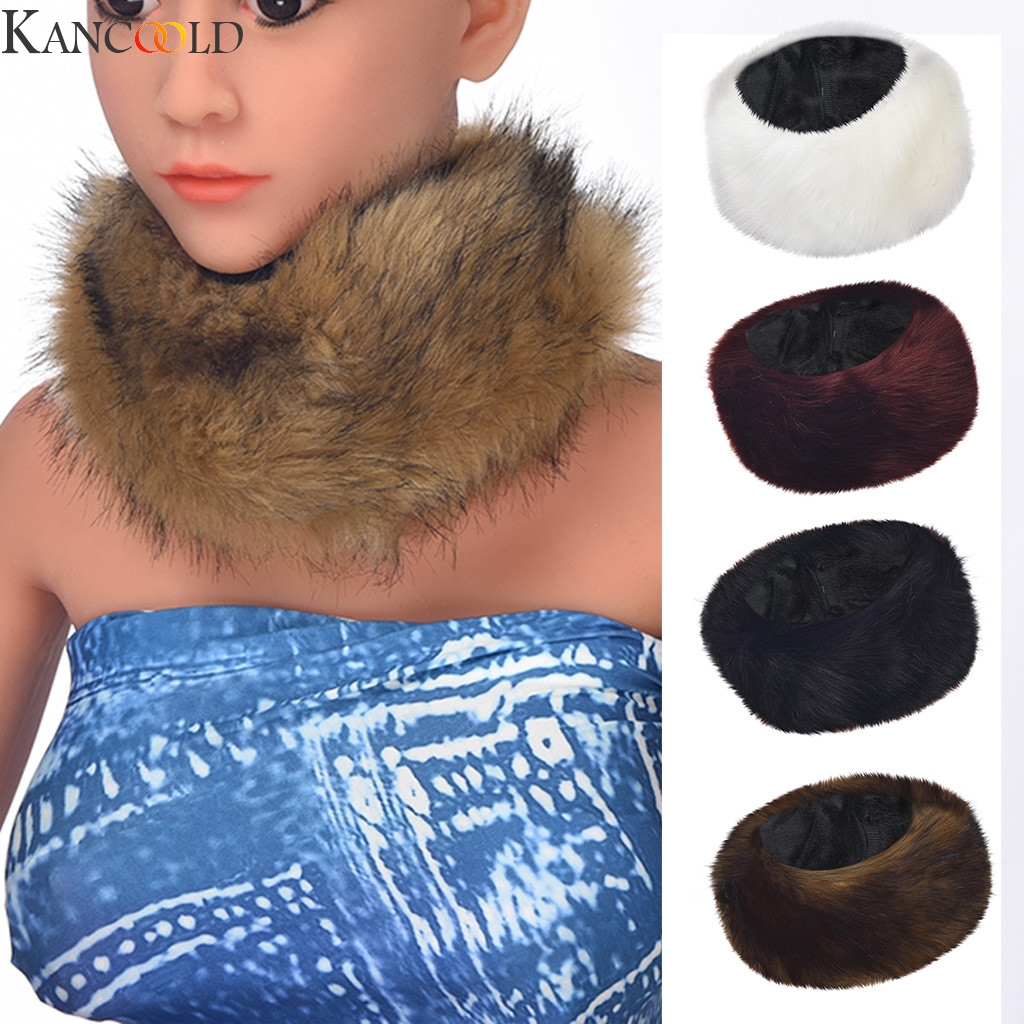 KANCOOLD Scarf Collar Scarves Winter Warm Soft Natural Fur Womens Scarfs For Coat Parkas Jackets Outerwear Fur Neck Collar