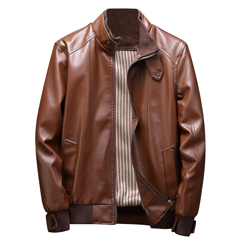 H9879f34ed0c743829ac20d919c3698a1i Zipper Closure for Men Leather Jacket Autumn Winter Warm Fur Lining Lapel Leather outerwear layer дубленка мужская кожаная Coat