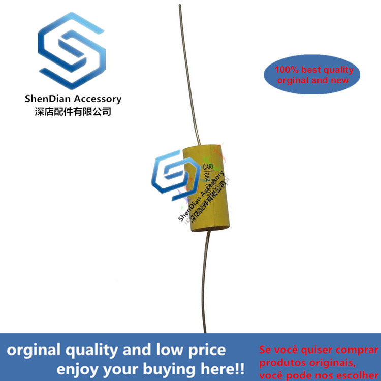 10pcs 630V Yellow Through Heart Axial Cholangio Mechanical Coupling Film Capacitor Fever Electrodeless Copper Foot Audio 0.68uf