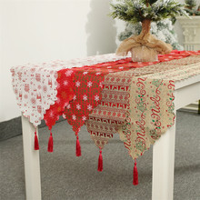NEW Christmas Decoration Linen Printed Table Flag Tablecloth Tablecloth Placemat Hotel Home Festival Decoration_RBS
