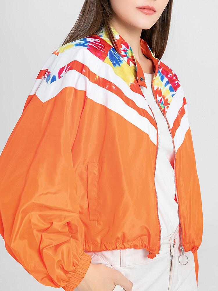 Ladies Print Multicolor Bohemia Long Sleeve Zipper Up Bomber Jacket Overcoat Womens Jacket Coat