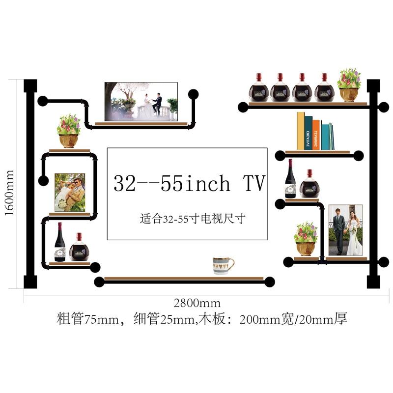 Antique Design Wine Rack Made Of Pine Wood And Iron Pipe  Audio Shelf Rack Home Media Component Shelf Rack TV Cabinet