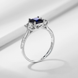 Image 5 - Kuololit 사파이어 보석 세트 여성을위한 반지 SQ 블루 스톤 솔리드 925 스털링 실버 주얼리 하프 사이즈 반지 결혼식 Size10