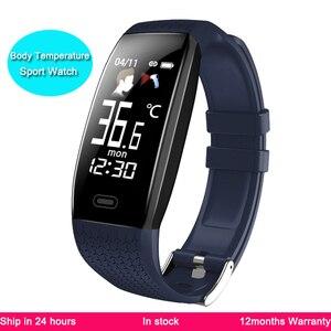 Смарт-браслеты часы в режиме реального времени датчик температуры тела Браслет Водонепроницаемый кровяное давление часы подключения моби...