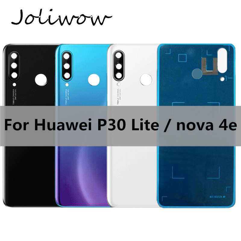 For <font><b>Huawei</b></font> Nova 4e Back <font><b>Battery</b></font> Glass <font><b>Cover</b></font> Replacement For <font><b>Huawei</b></font> <font><b>P30</b></font> lite Rear Housing Chassis Door Back Case add sticker image