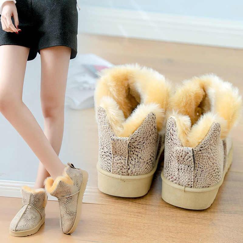 La más nueva llegada de las mujeres de invierno de felpa de algodón caliente Botas de nieve Martin tobillo Mujer bottina señoras Botas Zapatos C046