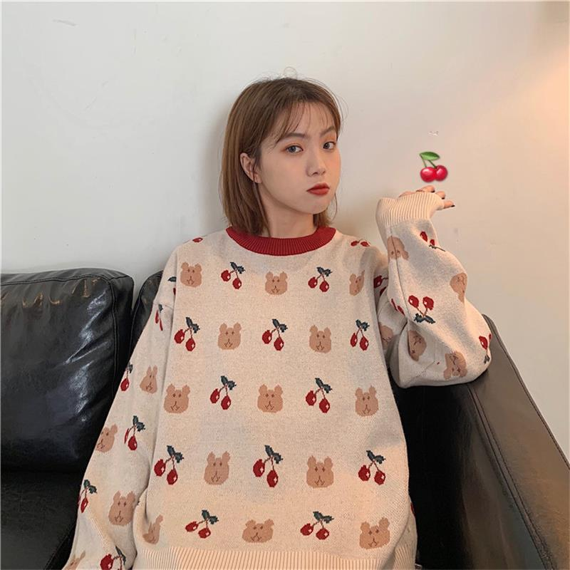 Women's Sweaters Japanese Kawaii Ulzzang Vintage Loose Bear Cherry Sweater Female Korean Harajuku Cute Clothing For Women