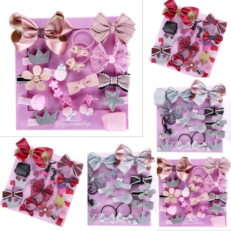 Imcute 1 Set 18 PCS New Kids Children Accessories Hairpins Barrettes Baby Fabric Bow Flower Headwear Hair Clips Girls Headdress