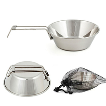 Outdoor 304 Stainless Steel Bowl Portable Barbecue Camping Tableware Cooking Foldable Handle Hiking Picnic Cookware With Bag outdoor picnic stainless steel hand bill of lading handle bento pot hiking pot camping barbecue cooking cookware picnic cookers