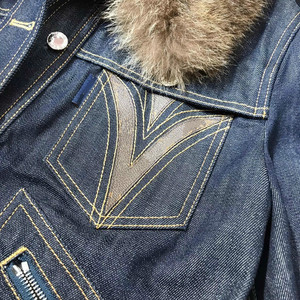 Image 4 - L160 collo in Visone giacca di jeans rivetto industria pesante di inverno versione più alto
