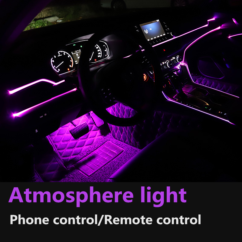 Car Atmosphere Light Interior Ambient Lights 12V RGB Colorful Voice Sound Neon LED Strip Lamp 6M 8M 10M Control Decorative Lamp image