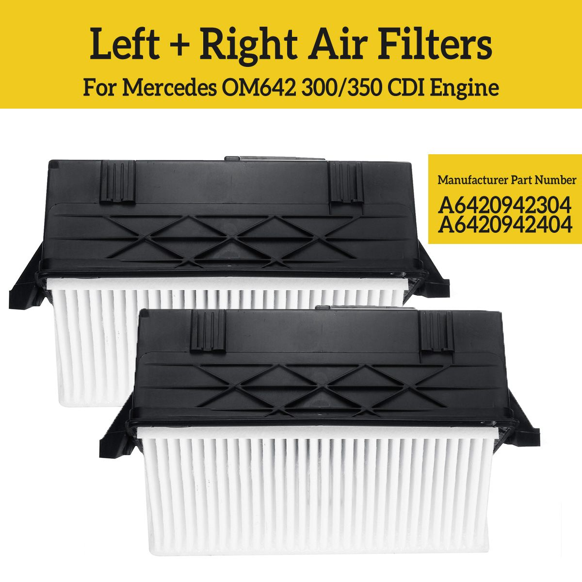 2pcs Left+ Right Air Filters For Mercedes 6420940000 A6420940000 Automobiles Filters(China)