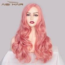 Длинные розовые волнистые волосы aisi синтетический волнистый