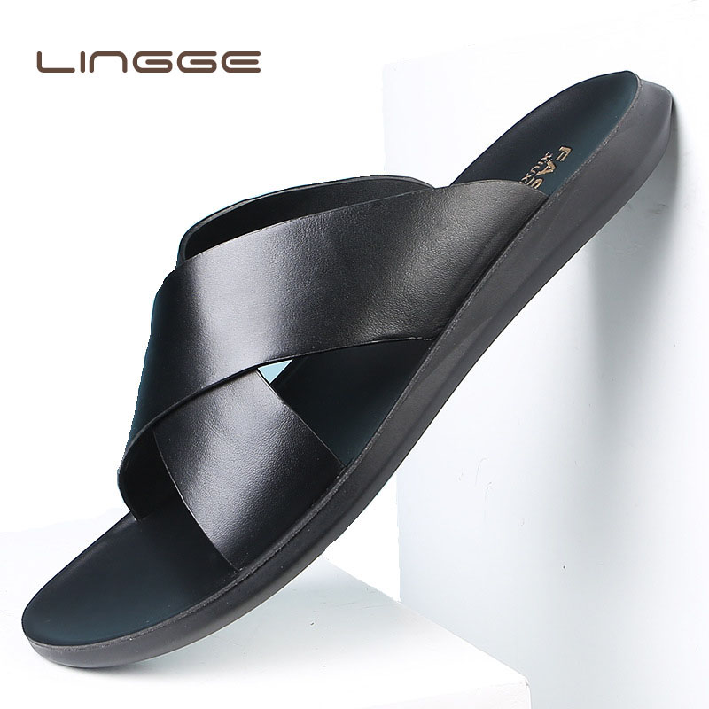 LINGGE Summer Sandals Men Leather Classic Roman Open-toed Slipper Outdoor Beach Rubber Summer Shoes Flip Flop Water Sandal