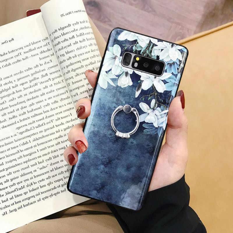 Glitter köpüklü TPU yumuşak samsung kılıfı Galaxy A51 A50 A70 A80 A90 A10 A20 A20E A30 A40 A40S çiçek kapak ile parmak yüzük