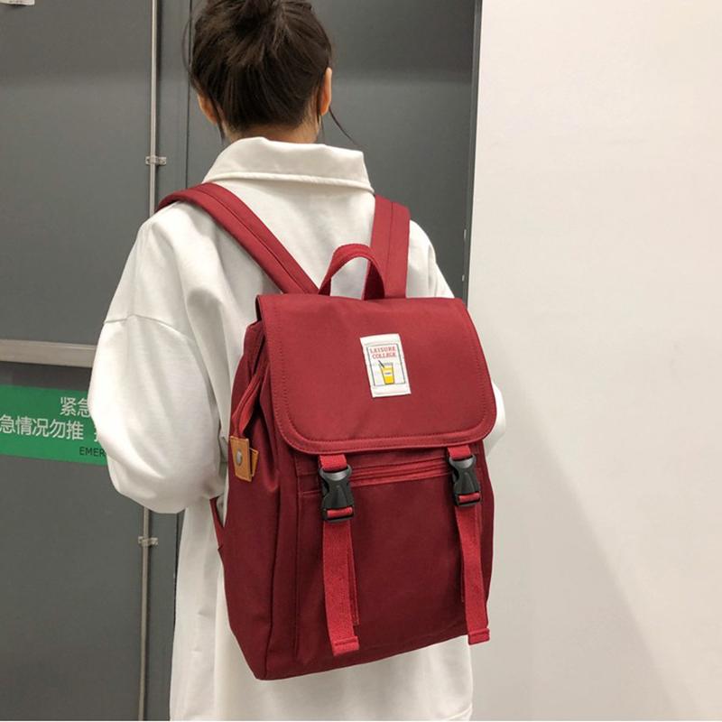Casual Women's Backpack Solid Color Nylon Cloth School Bag Lightweight Student Bagpack Literary Style Girl Backpack