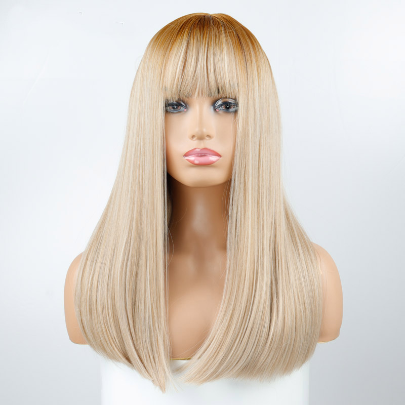 LISI HAIR Long Synthetic Wig With Bangs Dark Root Ombre Color Natural Headline Heat Resistant Hair Wigs For Women Cosplay