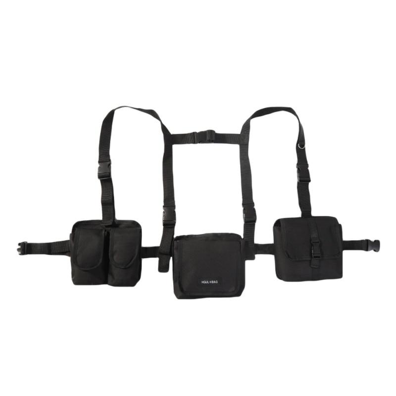 Black Chest Rig Bag Waist Vest Chest Front Pack Harness Hip Hop Chest Bag Functional Waist 3 Packs