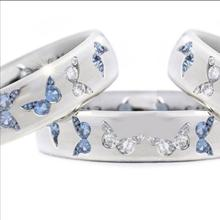Exquisite Sterling Women Fashion Jewelry Natural Two Tone Gemstone White and Blue Sapphire Butterfly Charming Diamond