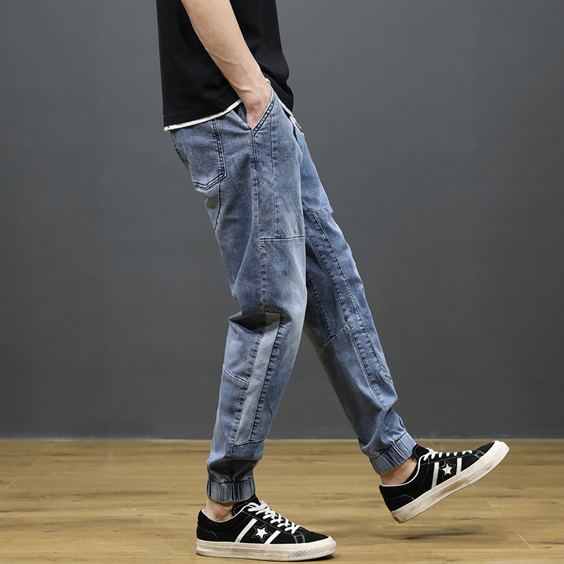 KSTUN Jeans Men Light Blue Stretch Jogger Pants Loose fit Spliced Harem Pants Casual Streetwear Hip