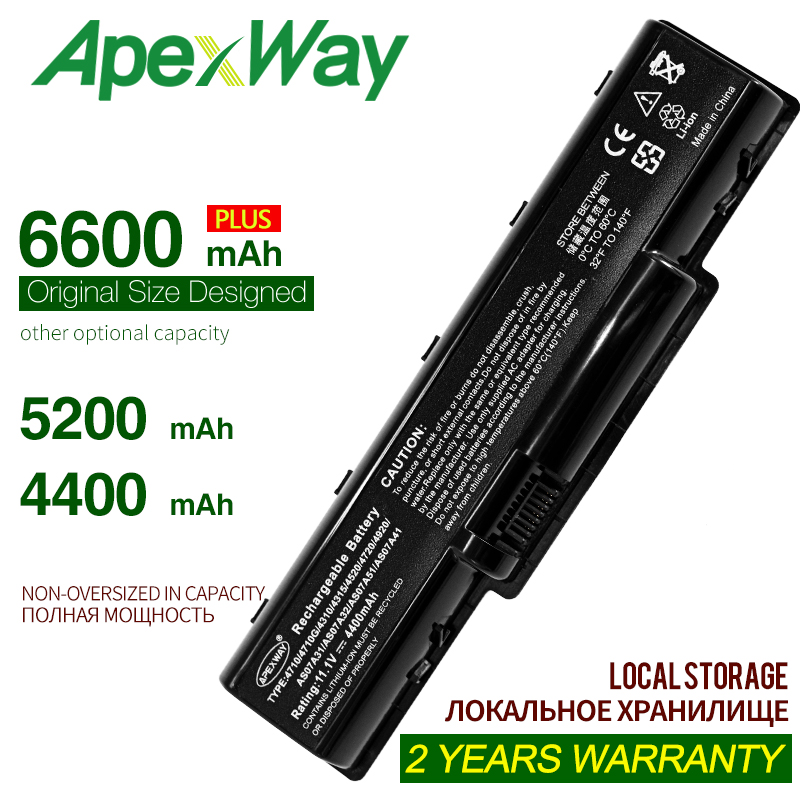 ApexWay laptop battery as07a31 as07a51 for ACER acer aspire 5542g acer 5740g аккумулятор AS07A32 AS07A41 AS07A42 BT.00603.036