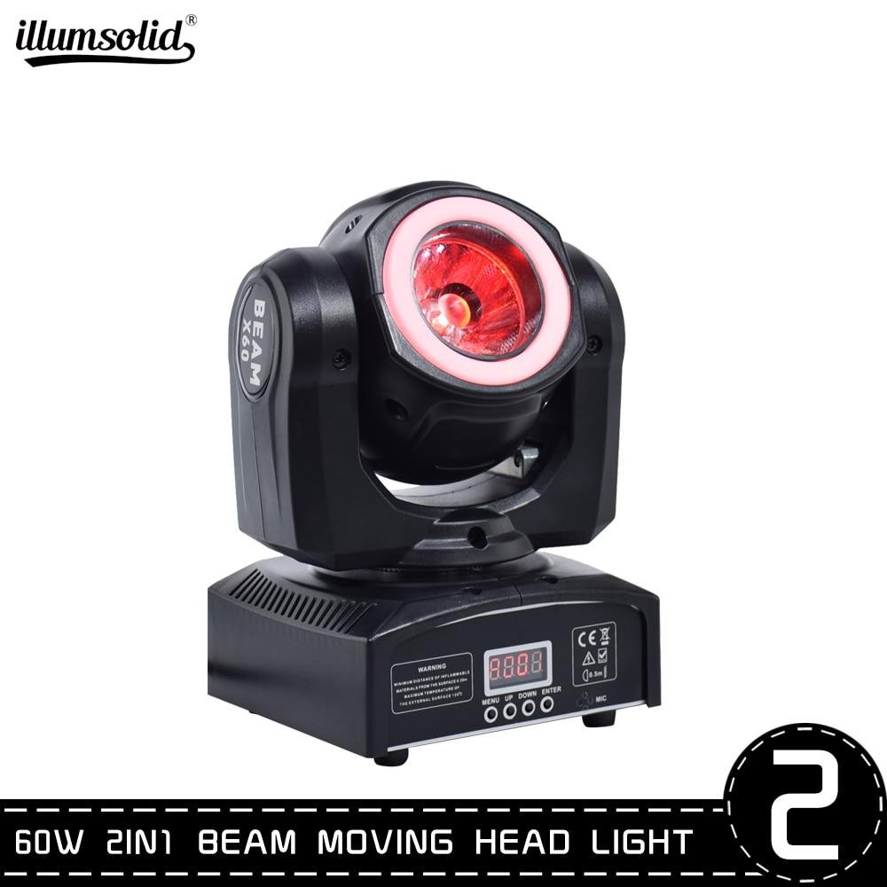 2pcs/lot DJ lighting mini moving head led 60W beam stage led light with RGB super bright LED Strobe Spot Light dmx control
