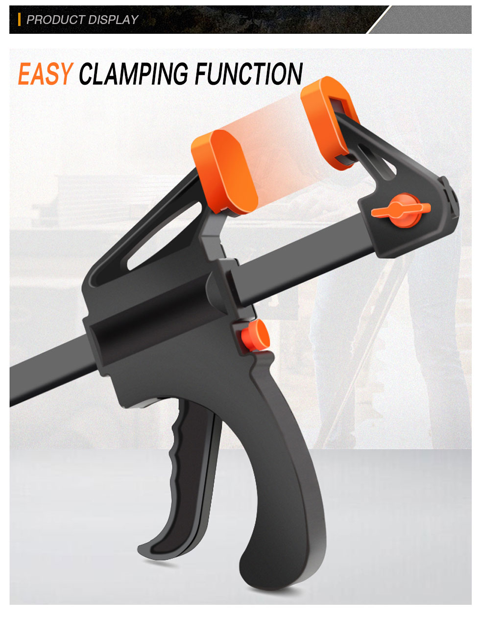 DTBD 4 Inch Woodworking Work Bar F Clamp Clip Set Display