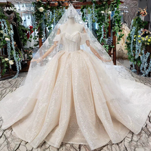 HTL432 shiny wedding dresses with glitter off the shoulder special neck sparckly wedding gowns 2020 new fashion robe de mariee