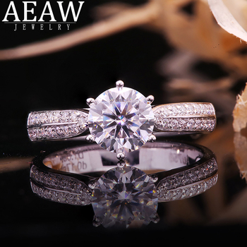 10 gold round coated cakeboard 12 ct DF Color Round Brilliant Cut 2Carat CT 8mm Moissanite Engagement Halo Ring Snow Flower Style Real 18k White Gold Gift