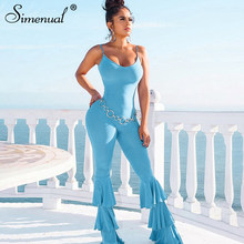 Simenual Sexy Hot Neon Color Flare-Pants Jumpsuit mujer moda Correa Bodycon monos sólido fiesta 2019 otoño Fitness monos(China)