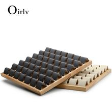 Fanxi 2 шт лоток для сережек из твердой древесины темно серый/бежевый