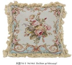 Needlepoint French Antique Needlepoint Throw Cushion Seat woolen Needlepoint Floral Roses aubusson Cushion