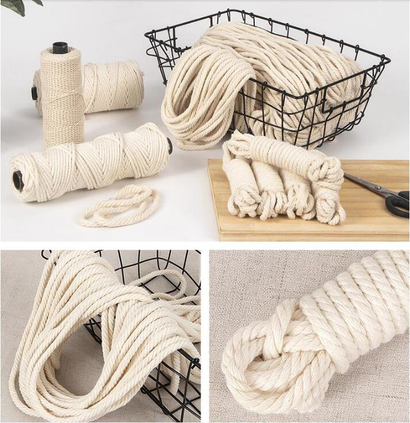 £DealCotton-Cord Rope Twisted-String Wedding-Accessories Gift Handmade Natural 6mm Macrame