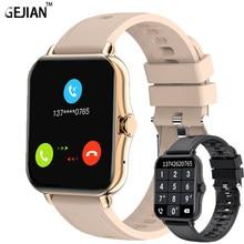 GEJIAN akıllı saat kadın Bluetooth çağrı spor izci kalp hızı tam dokunmatik Smartwatch erkekler kadınlar müzik kontrol cihazı spor izle + kutusu