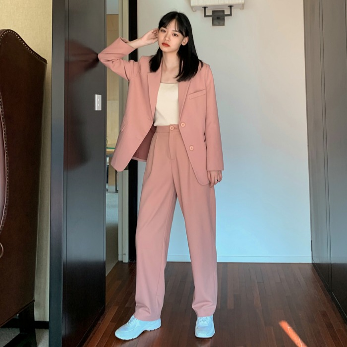 Trousers Women Suit Notched Long Casual Jacket Blazer Female+Button Wide Leg Pant 2 Piece 2019 Womens Autumn Pink Outfits