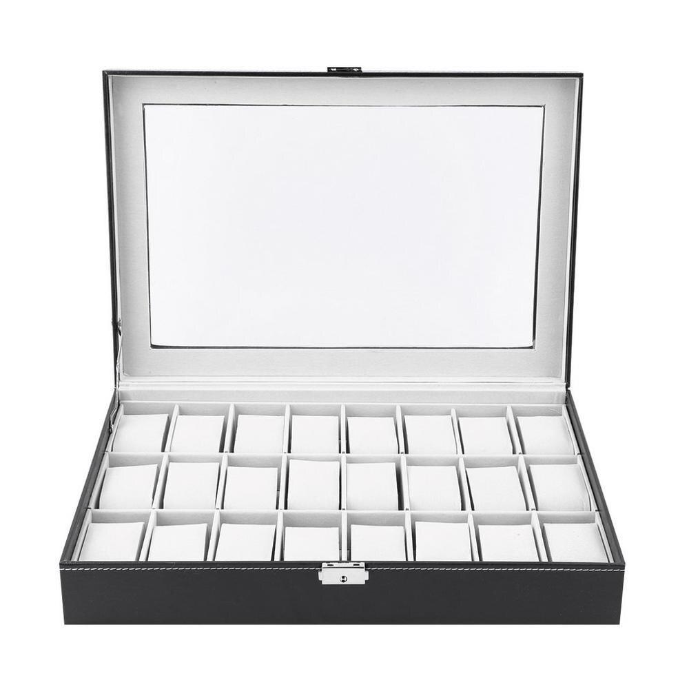 HOT 24 Grid Slot PU Leather Watch Box Display Case Organizer Jewelry Storage