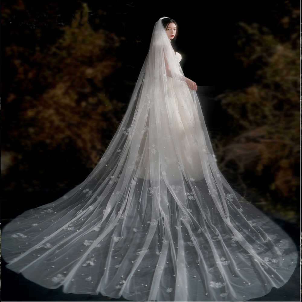 White//Ivory//Champagne Wedding Veils Cathedral 1T With Comb Bridal Accessories