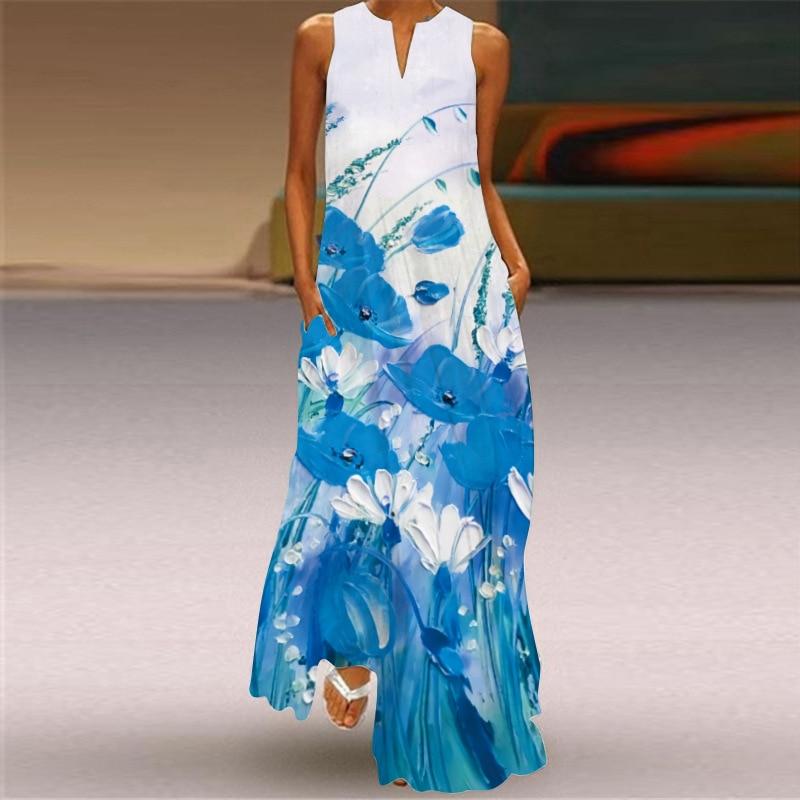 New Fashion Print Summer Dress Casual  Sexy Boho Beach Dresses Women Party Dress V-neck Sleeveless Pocket Plus Size Long Dress 5