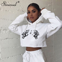 Simenual Casual Sporty Fashion Women Hoodies Autumn Long Sleeve Printed Cropped Sweatshirt Workout Active Wear White Basic Hoody