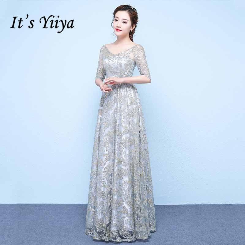 It's Yiiya Evening Dresses Shiny Glitter A Line Formal Party Dress Long V Neck Half Sleeve Women Evening Gowns Vestidos  K211