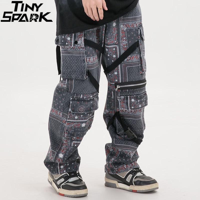 Men 2020 Hip Hip Denim Pants Streetwear Retro Vintage Pattern Washed Denim Pants Harajuku Cargo Pants Joggers Trousers Cotton