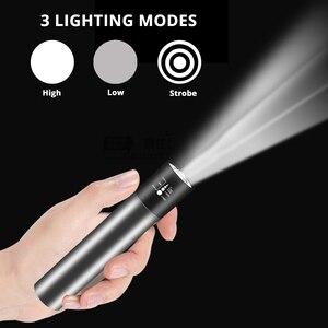 Image 3 - USB قابلة للشحن مصباح ليد جيب صغير 3 وضع الإضاءة مقاوم للماء الشعلة تلسكوبي التكبير أنيق المحمولة دعوى للإضاءة الليلية