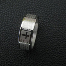 Stainless Steel Cross Scripture Ring For Men Fashion Silver Color Male Charming Jewelry Gifts High Quality Smooth Finger Rings(China)