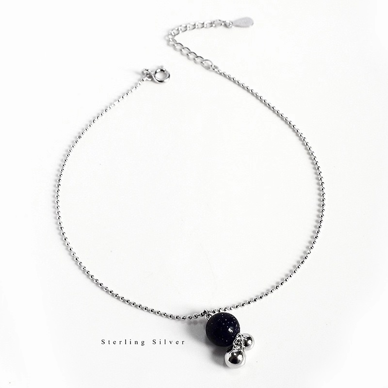 ZOBEI 925 Sterling Silver Beads Round Zircon Anklet For Women Round Geometric Metal Chain Fine Jewelry Party Birthday Gift