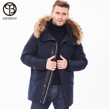 2019 New Winter Jacket Men Long Fur Collar Hooded Coats Parka for Men's Solid Jackets Thick Warm Windproof Casual Outerwear стоимость
