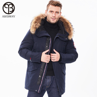 2019 New Winter Jacket Men Long Fur Collar Hooded Coats Parka for Men's Solid Jackets Thick Warm Windproof Casual Outerwear