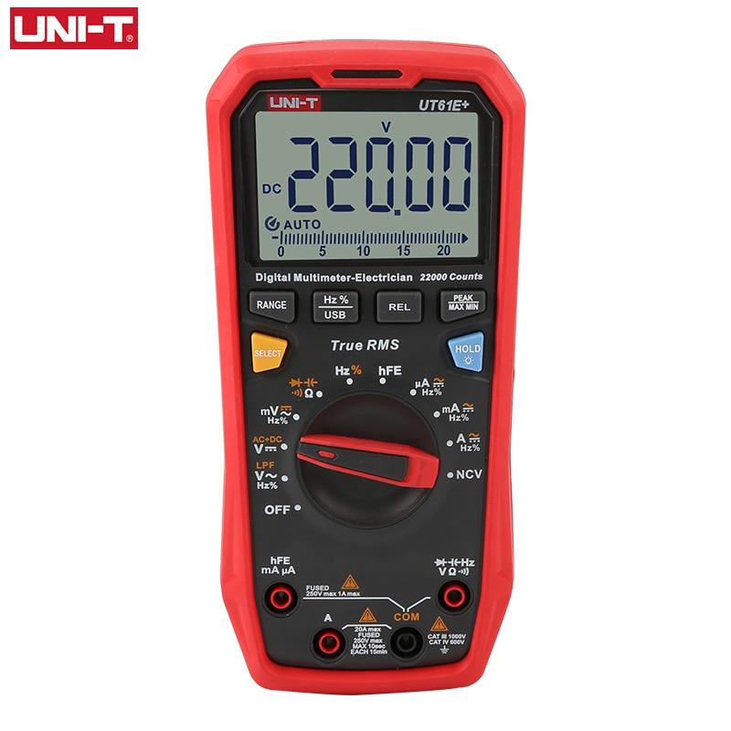 Tools : UNI-T UT61B  UT61D  UT61E  Handheld Multimeter Digital DC AC 1000V 60mF 220 mF Capacitance Testing True RMS Auto Range Meter